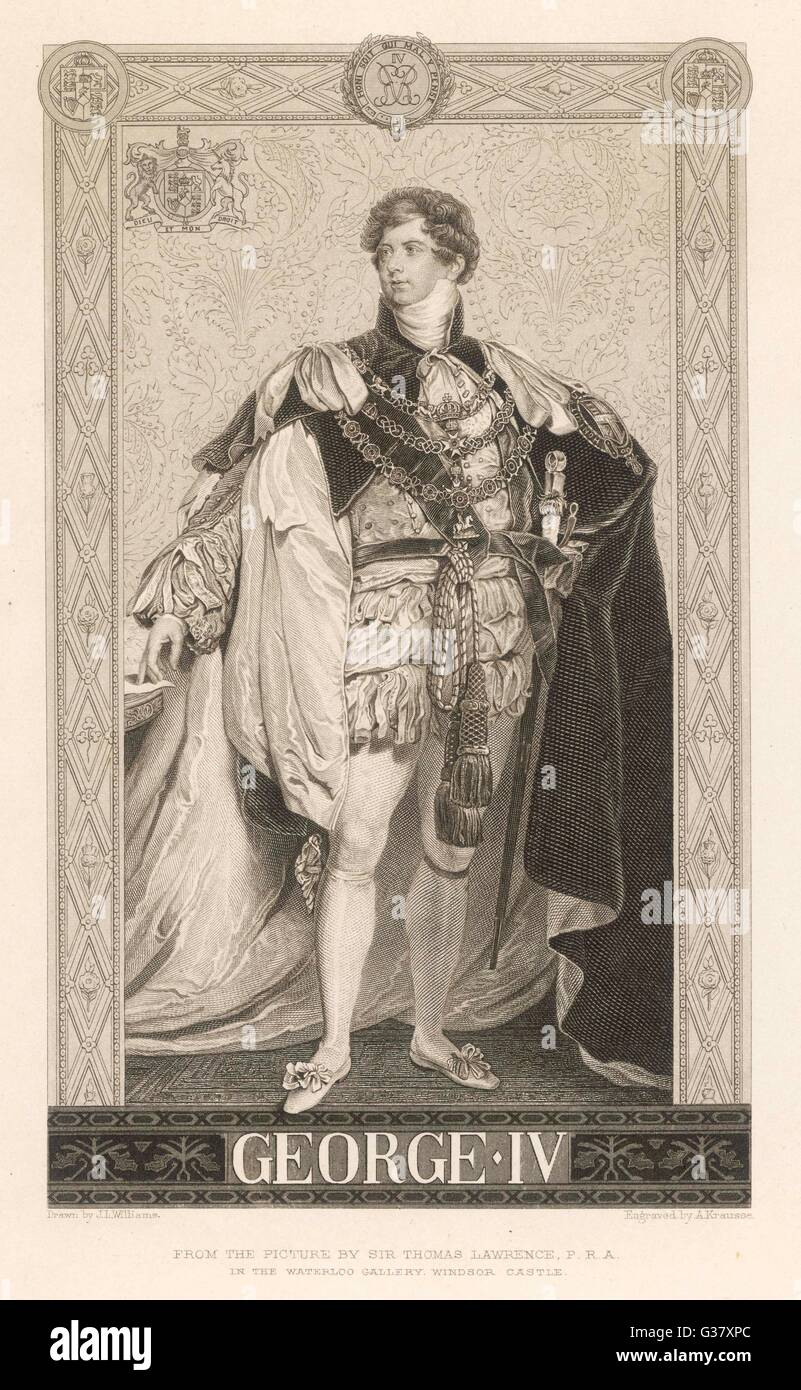 King George IV of England(1762-1830): a full length portrait of the king in his royal regalia. - Stock Image