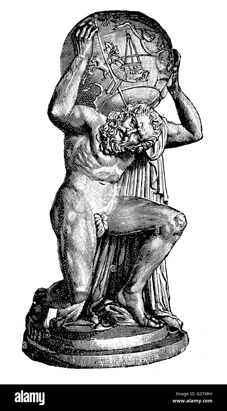 Atlas, a Titan who was punished for rebelling against the Gods by being made to carry the heavens on his shoulders; - Stock Image