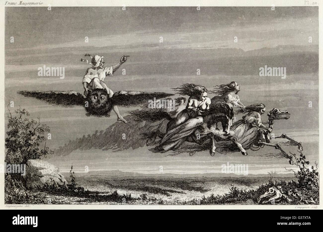 Witches fly to the sabbat mounted on owls, horses living or horses skeletal. - Stock Image