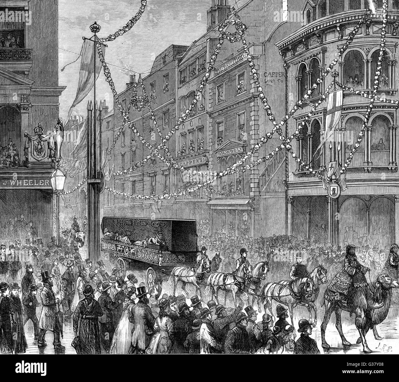 The procession, on Lord Mayor's Day, with Cleopatra's Needle passing down Gracechurch Street, London.   - Stock Image