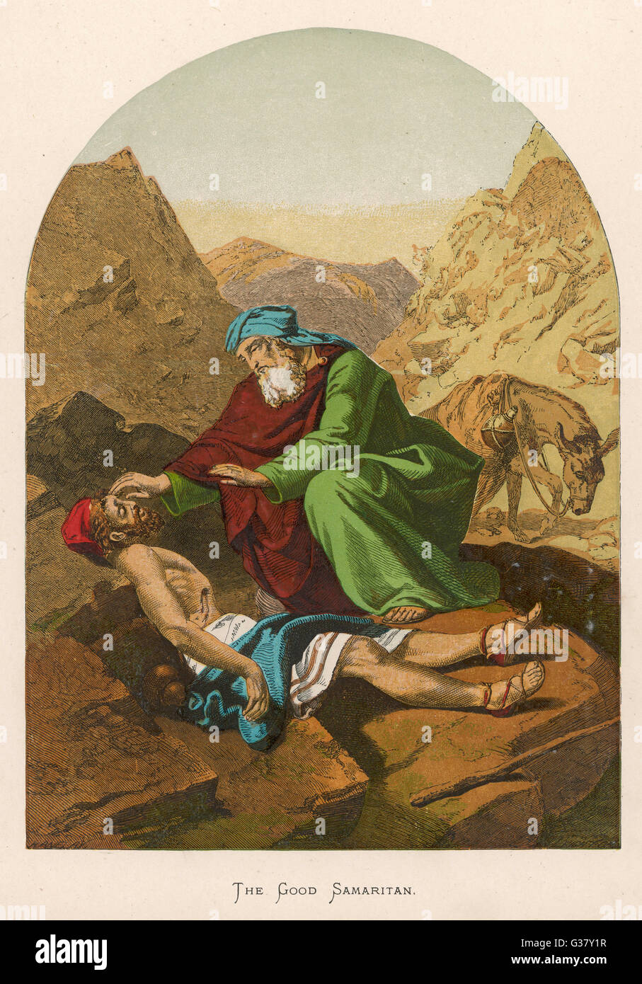 The parable of the Good Samaritan who, unlike others, didn't pass by on the other side. - Stock Image