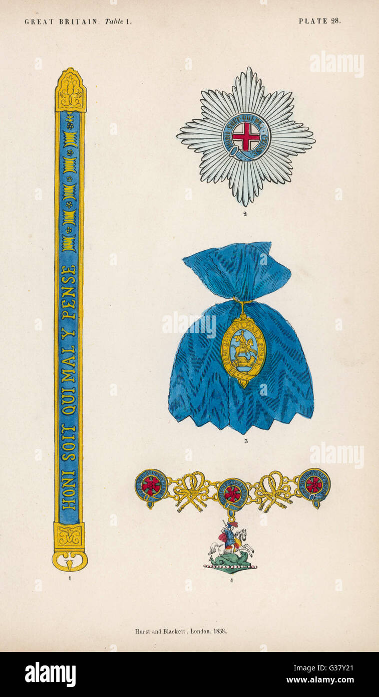 The Order of the Garter, and its insignia.     Date: 1858 - Stock Image