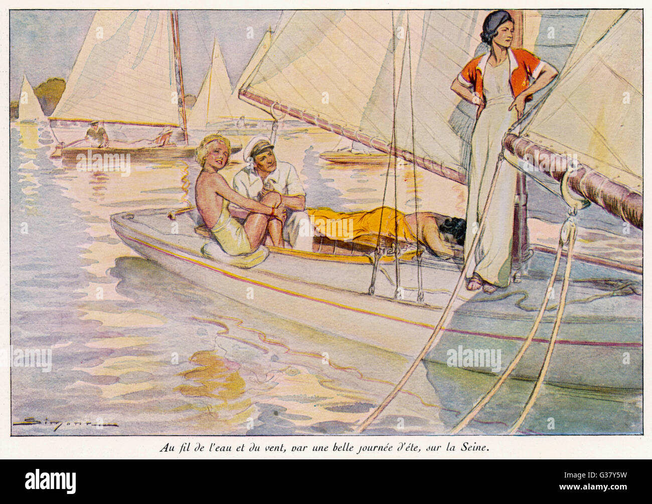A yachting scene.     Date: 1934 - Stock Image