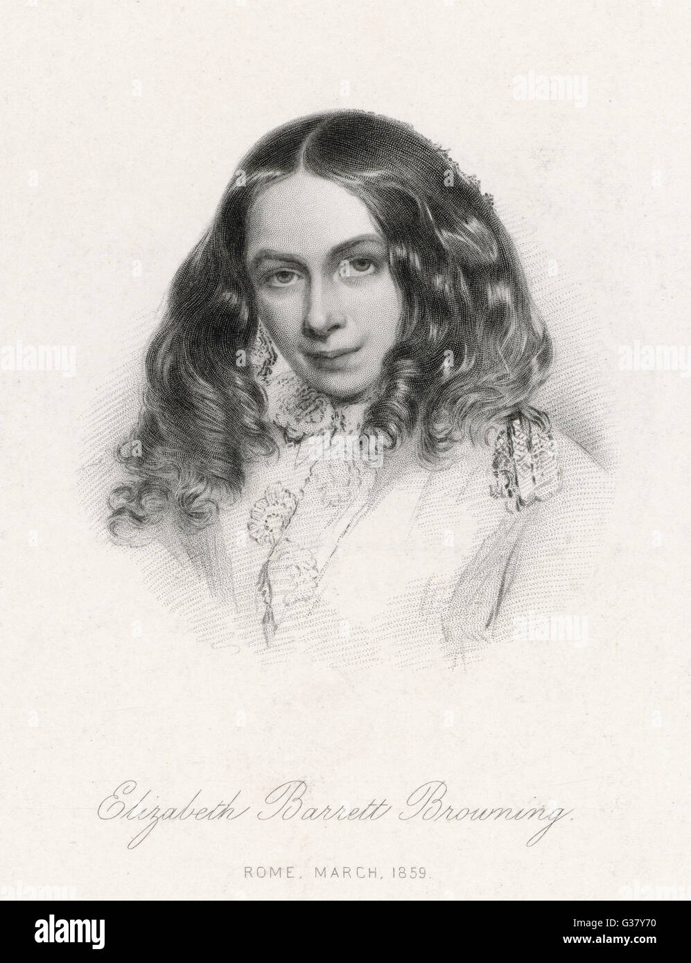 Elizabeth Barrett Browning(1806-1861), Writer; in Rome, March 1859. - Stock Image