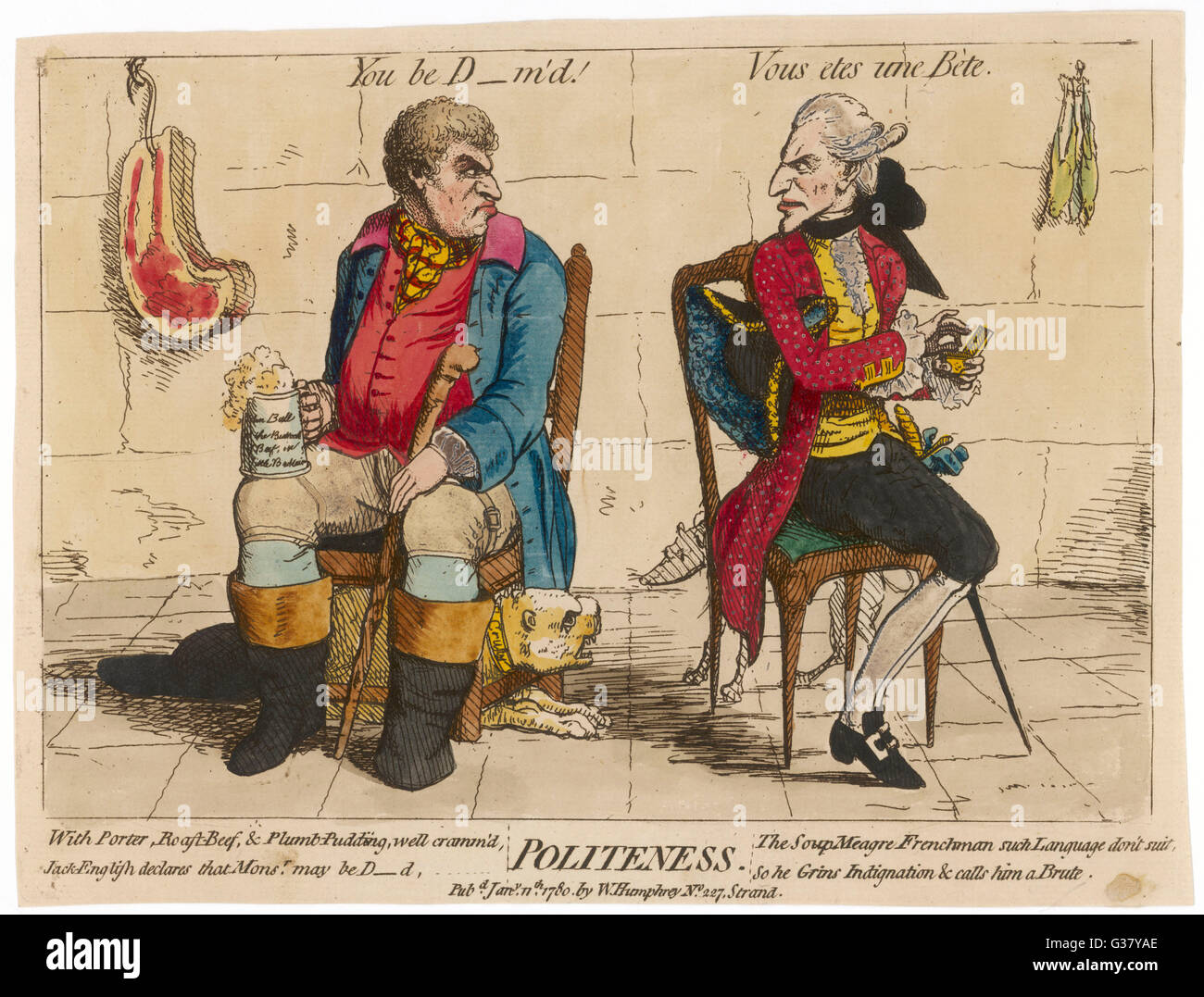 John Bull (first known representation) with his French counterpart. - Stock Image