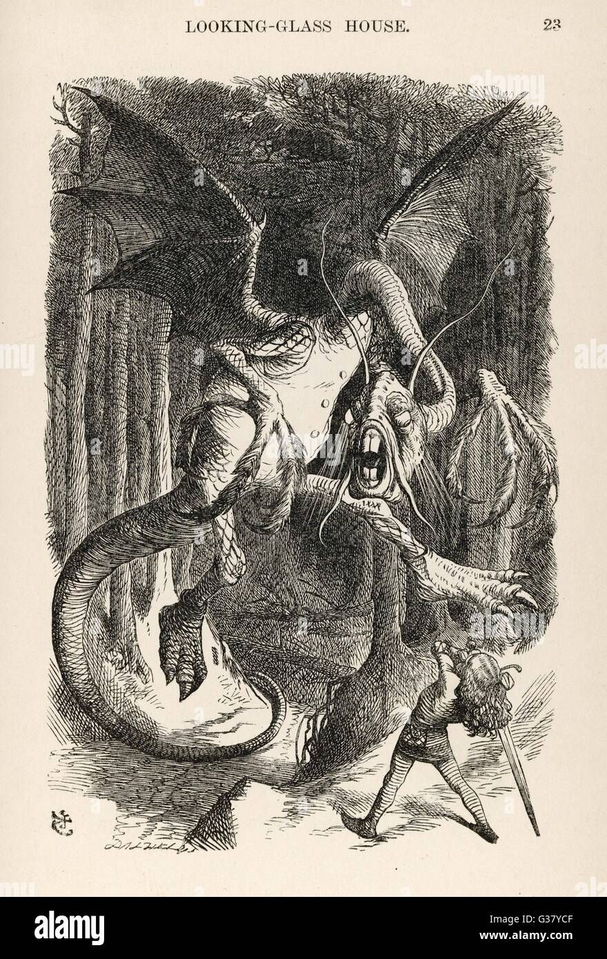 The Jabberwock.         Date: First published: 1872 - Stock Image