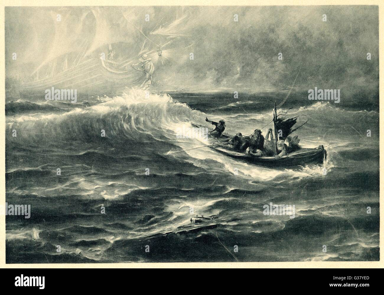 A sighting of the Flying Dutchman raises false hopes for a boatload of shipwreck survivors.     Date: late 19th - Stock Image