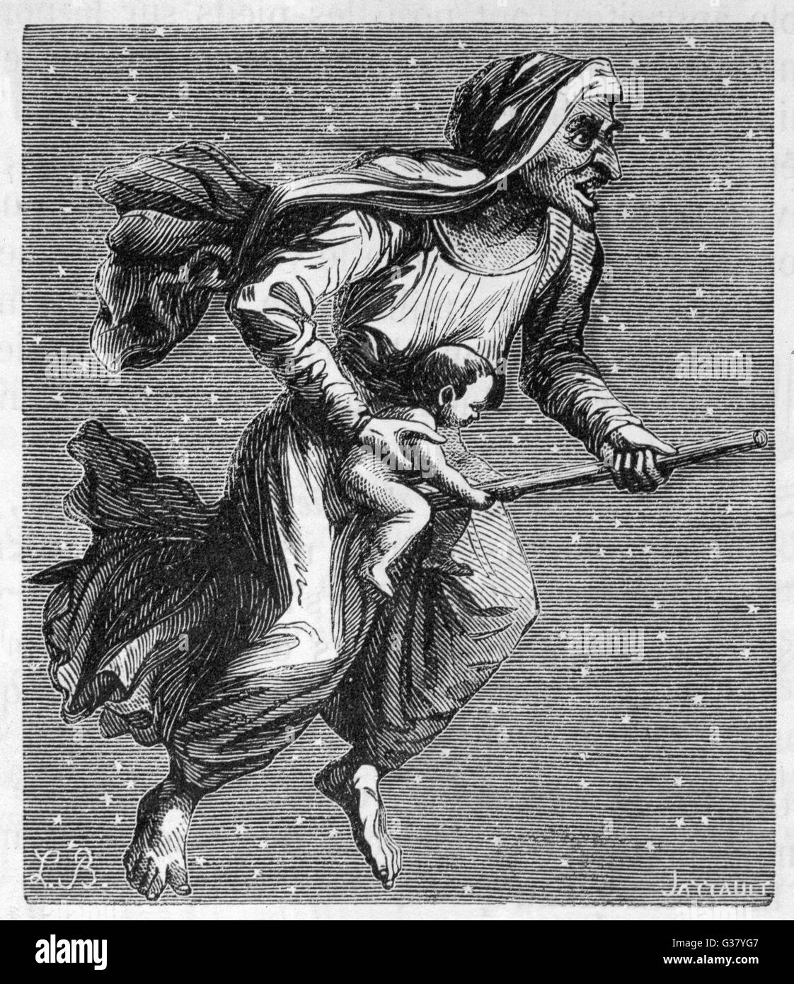 A witch rides through the starlit sky on her broomstick, carrying a baby she has borrowed from its mum. - Stock Image