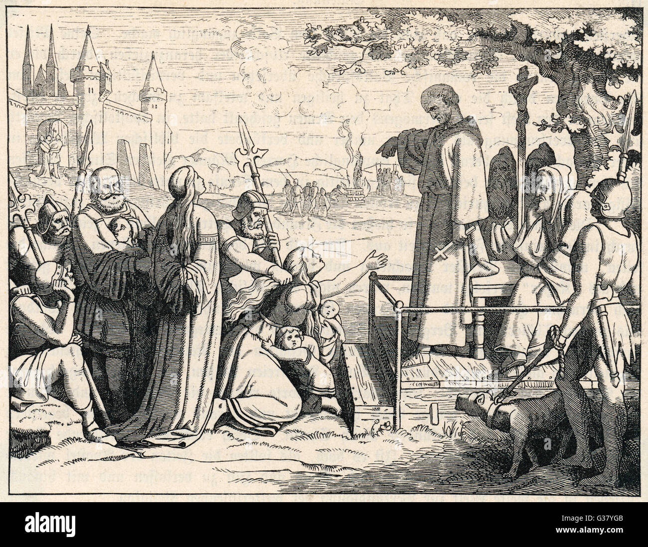 The notorious German witch-finder, Konrad von Marburg, sends another victim to the torture-chamber and the stake. - Stock Image