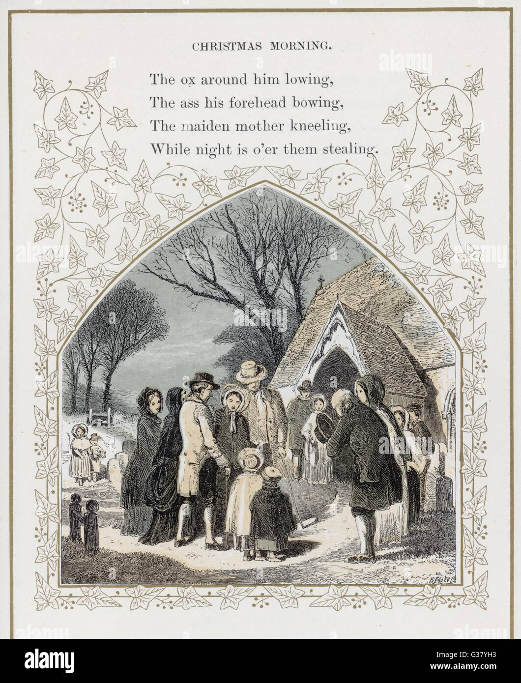 Country people greet one another outside the church porch on Christmas morning.     Date: 1869 - Stock Image