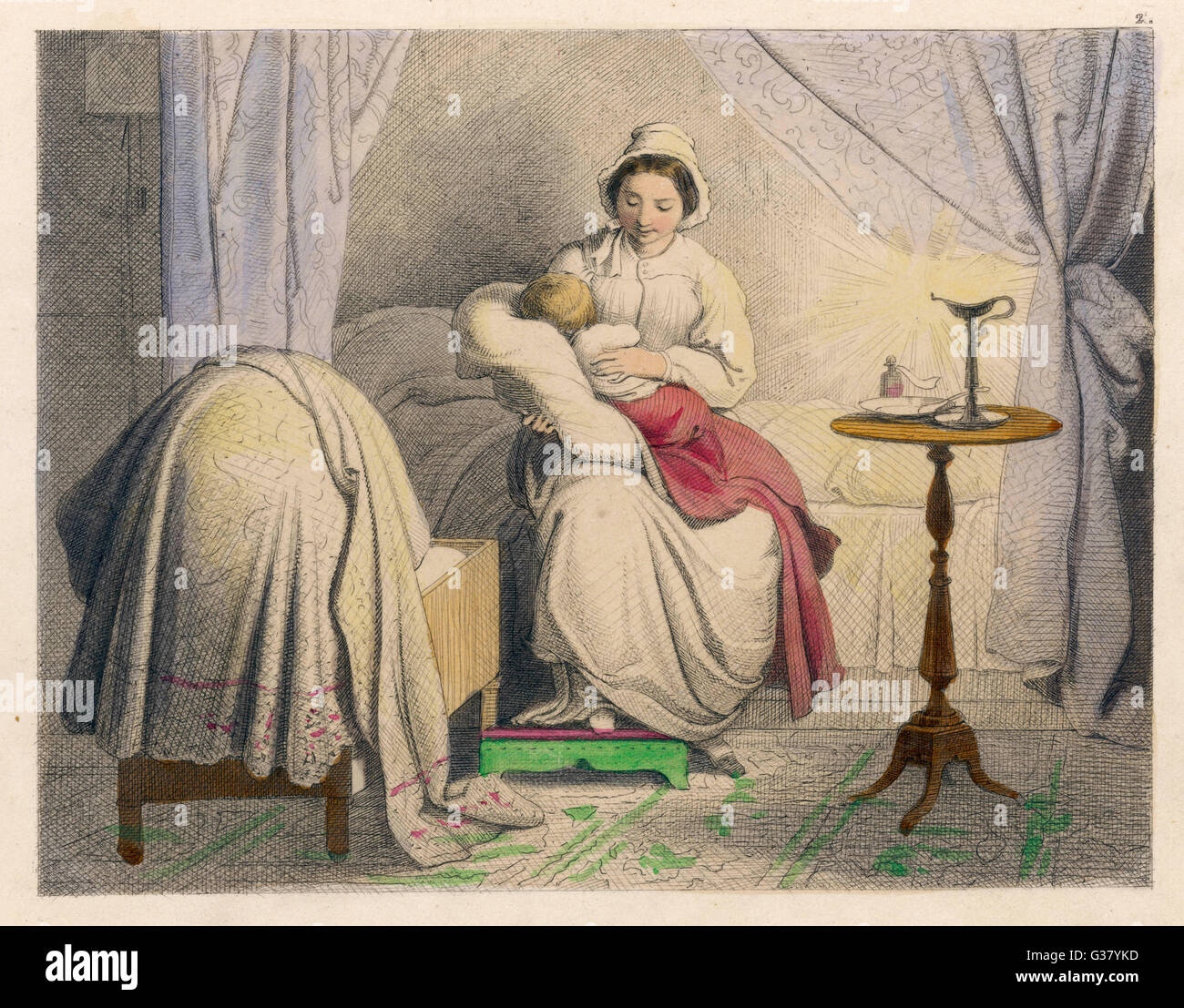 Mother sits up until her baby  goes back to sleep after it  wakes up in the night        Date: 1852 - Stock Image