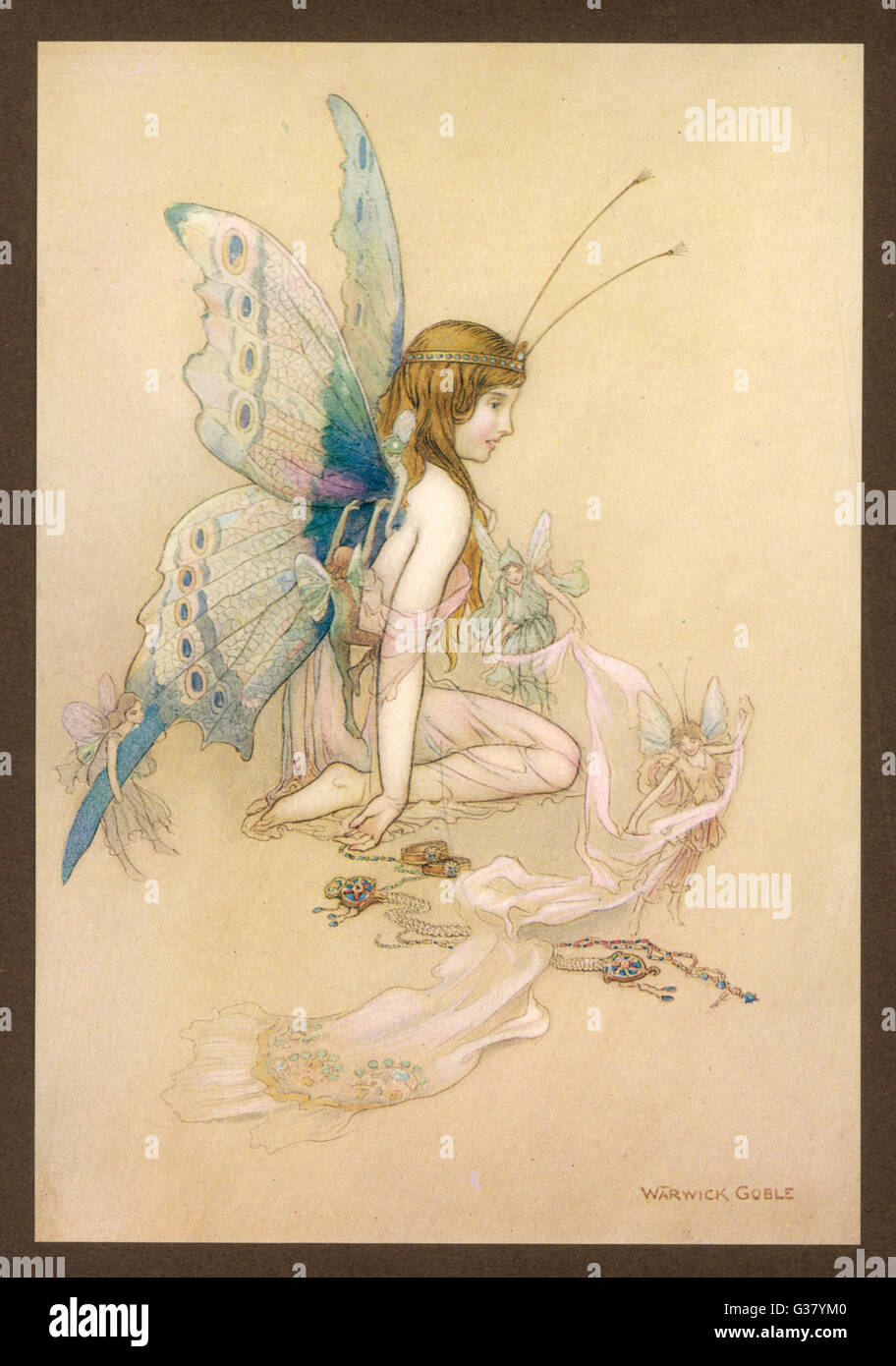 Fairies provide a human  girl with fairy wings - Stock Image