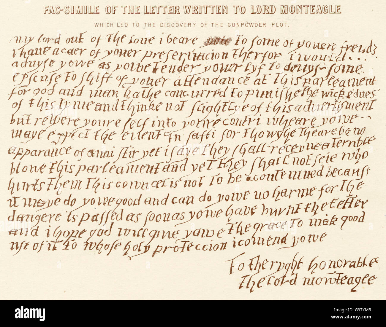 Anonymous letter sent to Lord Monteagle warning him not to