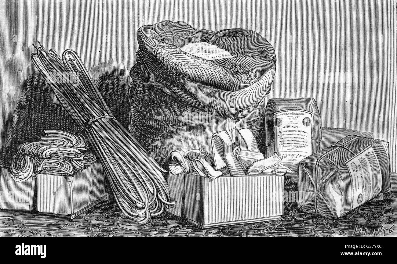 Varieties of pasta          Date: circa 1880 - Stock Image
