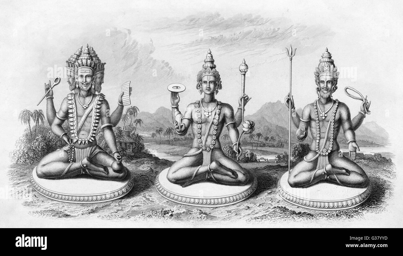 Brahma, Vishnu and Shiva - Stock Image