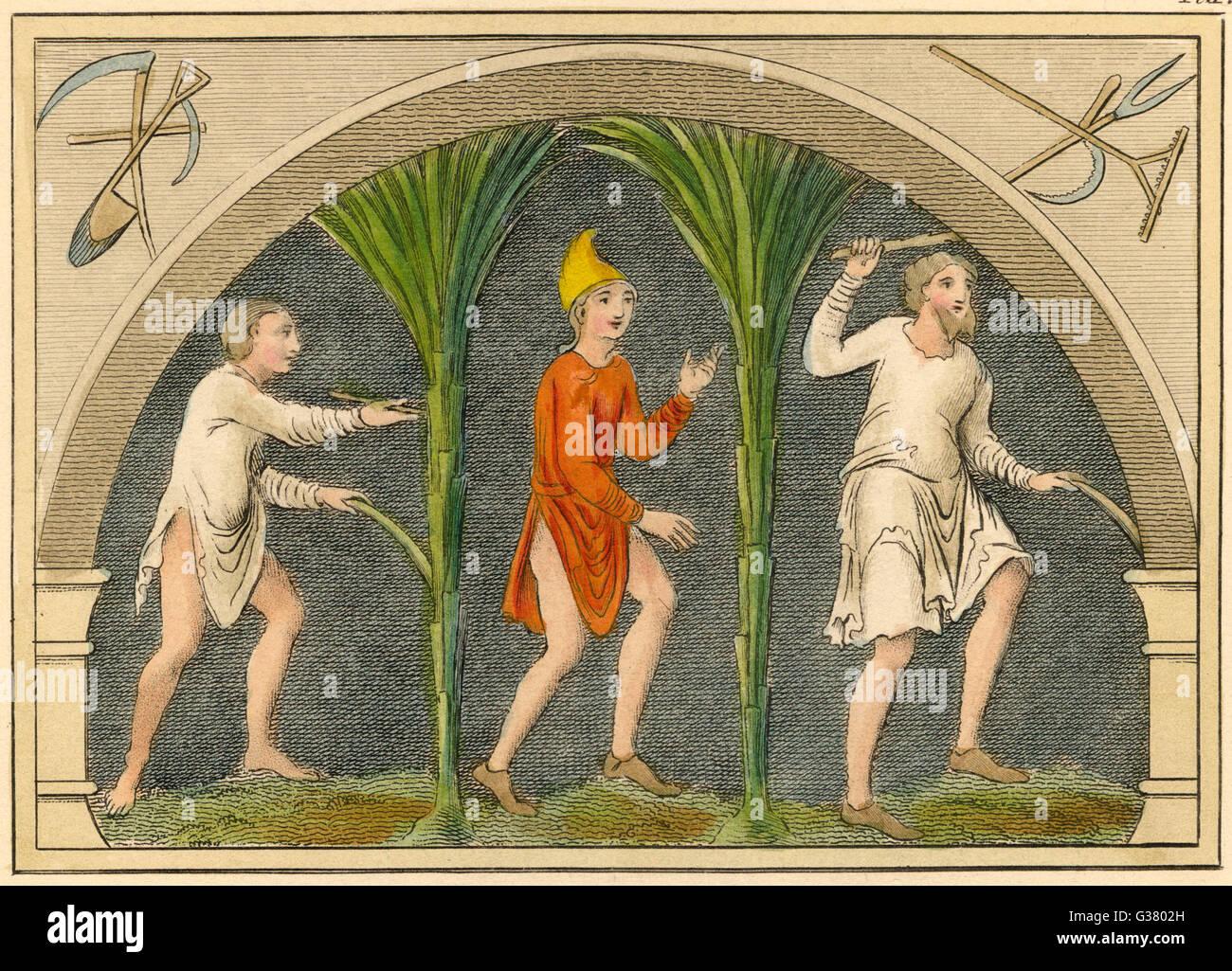 Saxon rustics           Date: 8th Century - Stock Image