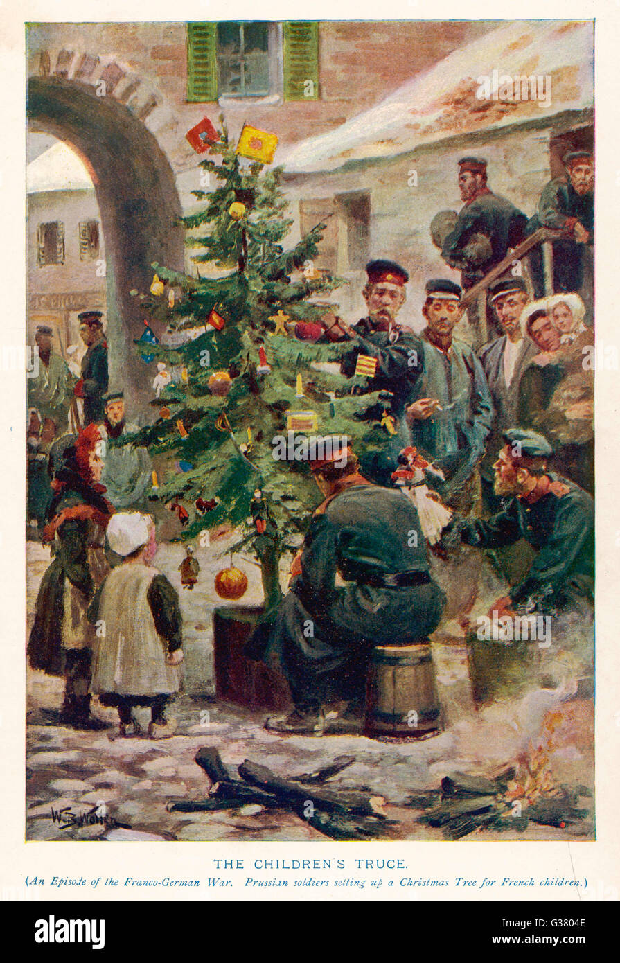 THE CHILDREN'S TRUCE During the Franco-Prussian  War, Germans set up a  Christmas tree in occupied  France, - Stock Image