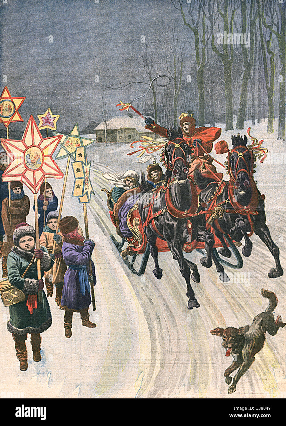 At Christmas Polish country  folk exchange visits in  decorated sleighs, while the  children process round the  - Stock Image