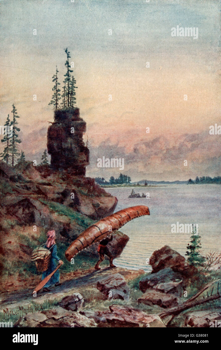 Surprise Lake:  two boatmen making a portage with their canoe       Date: 1907 - Stock Image