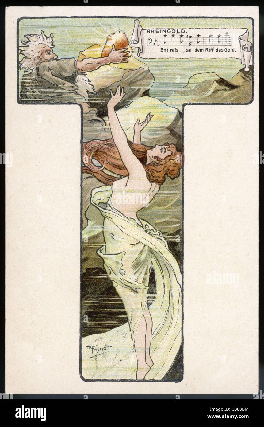 THE RING - 'DAS RHEINGOLD'          Date: circa 1900 - Stock Image