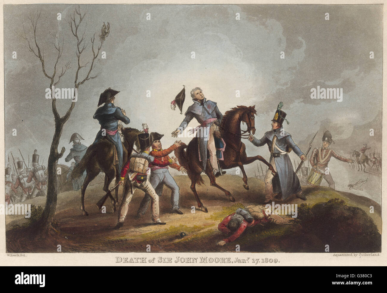 BATTLE OF CORUNNA Sir John Moore successfully  repels the French, enabling  the retreating British to  embark, but - Stock Image