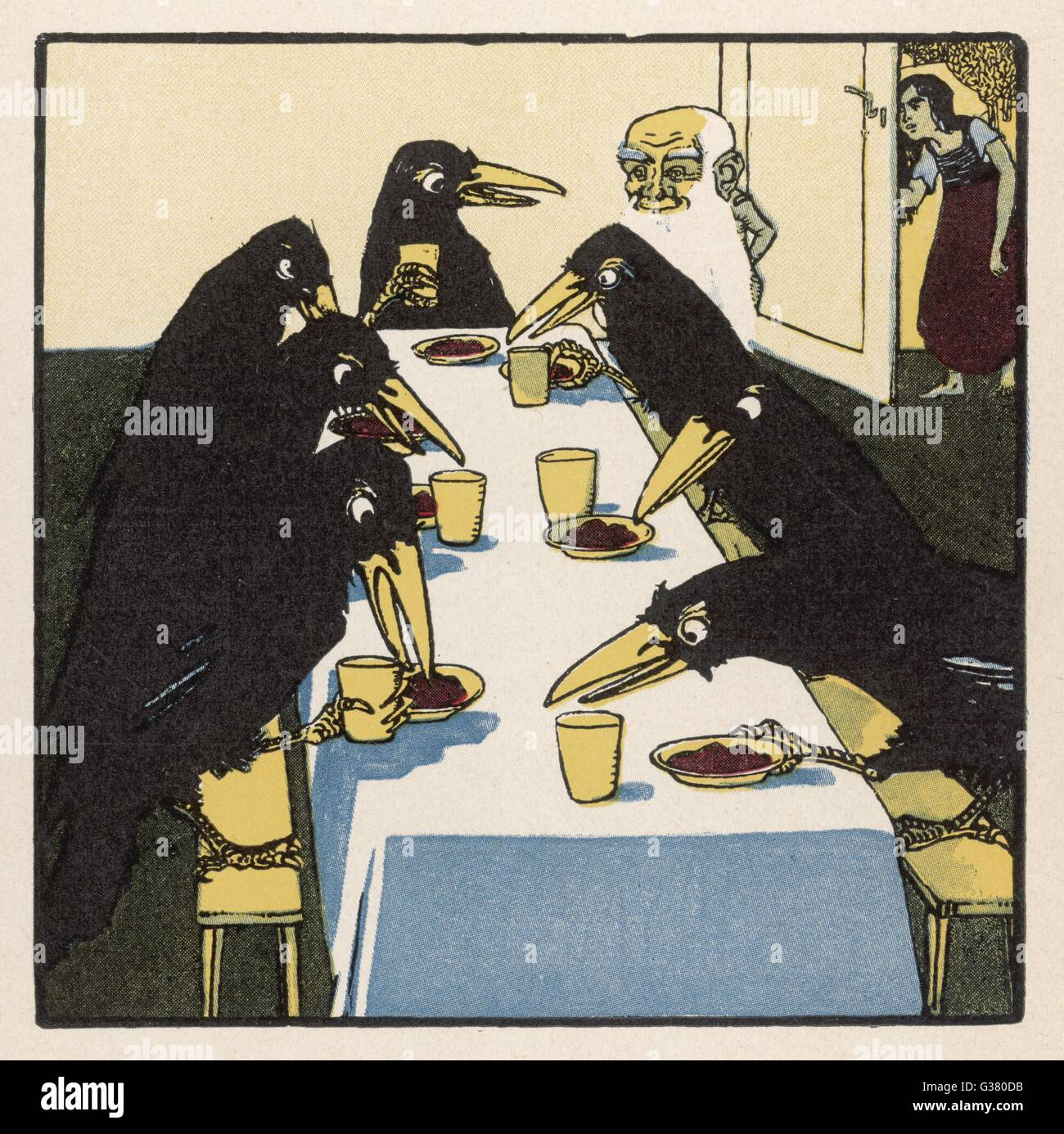 The seven ravens at the dinner  table. - Stock Image
