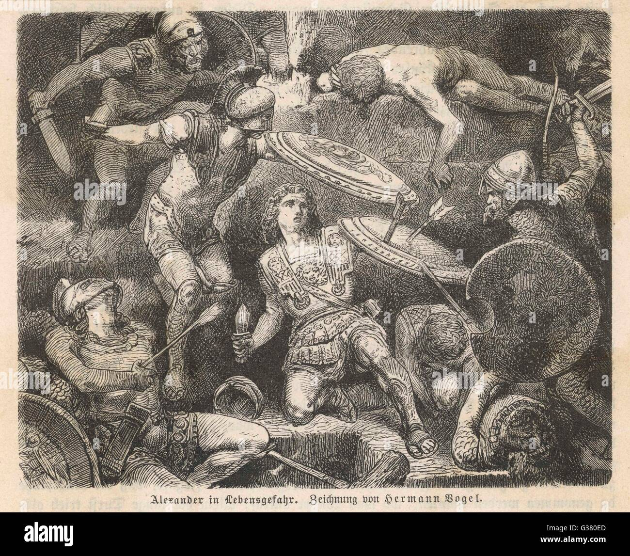 ALEXANDER THE GREAT in mortal danger         Date: 356 - 323 BC - Stock Image