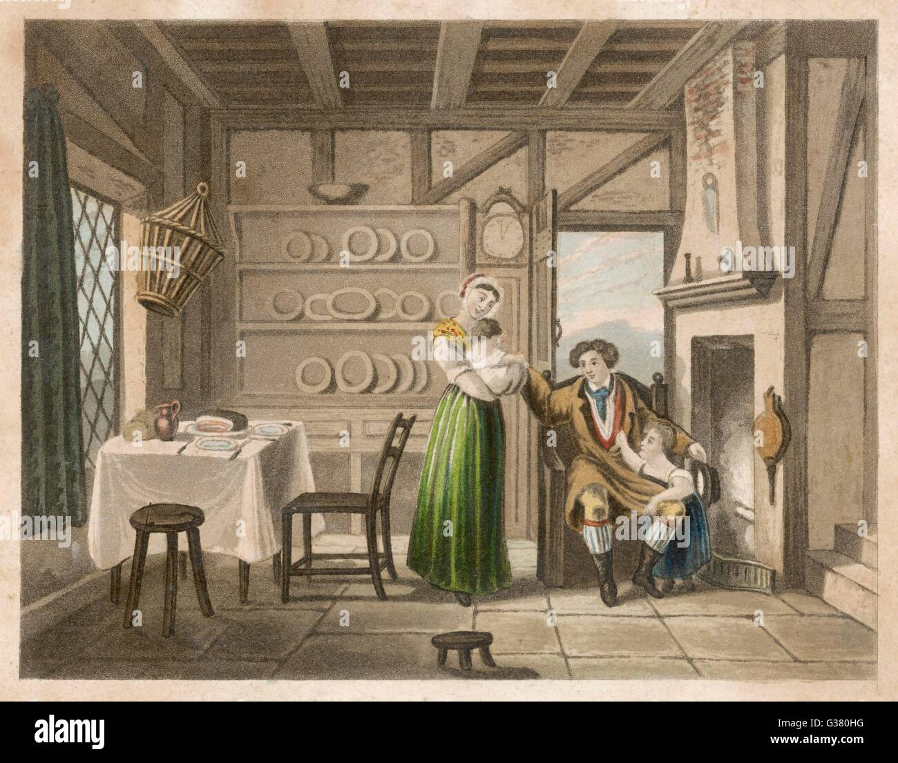 'Noon'  A country couple with their  children inside their cottage      Date: circa 1840 - Stock Image