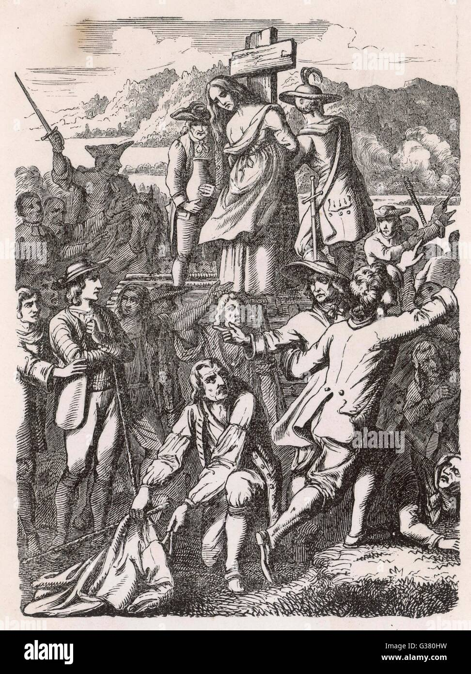 A Swiss woman accused of  witchcraft is burnt at the  stake        Date: circa 1700 - Stock Image