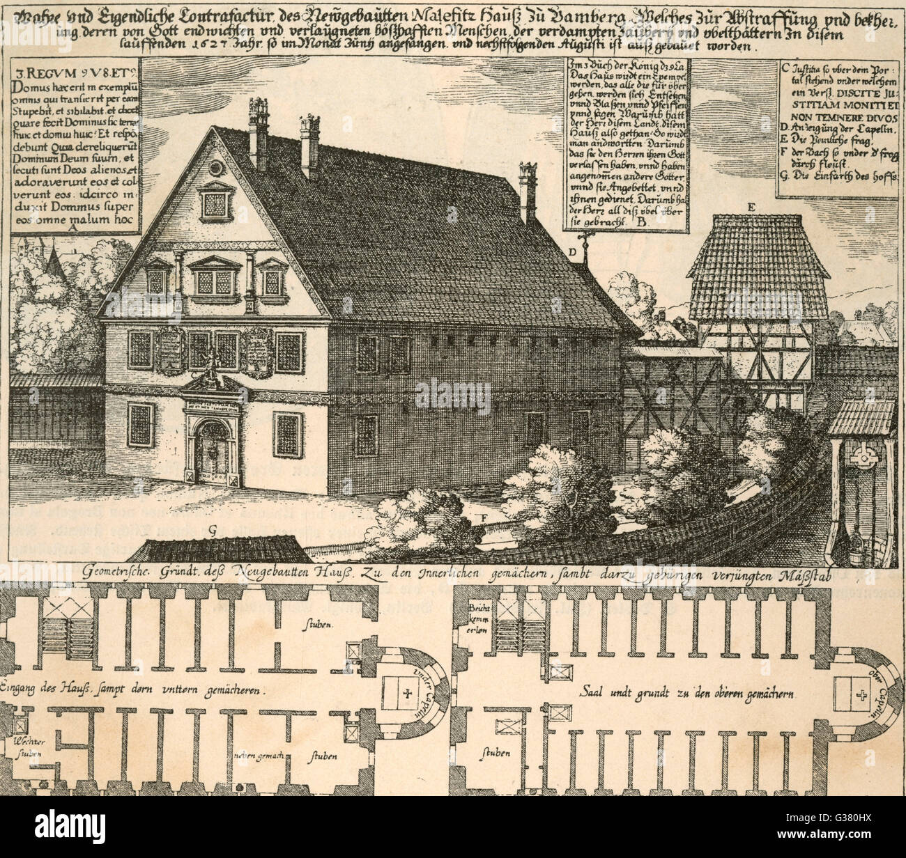 The 'Malefitz Haus'  constructed at Bamberg,  Germany, specifically for the  questioning (i.e. torture) - Stock Image