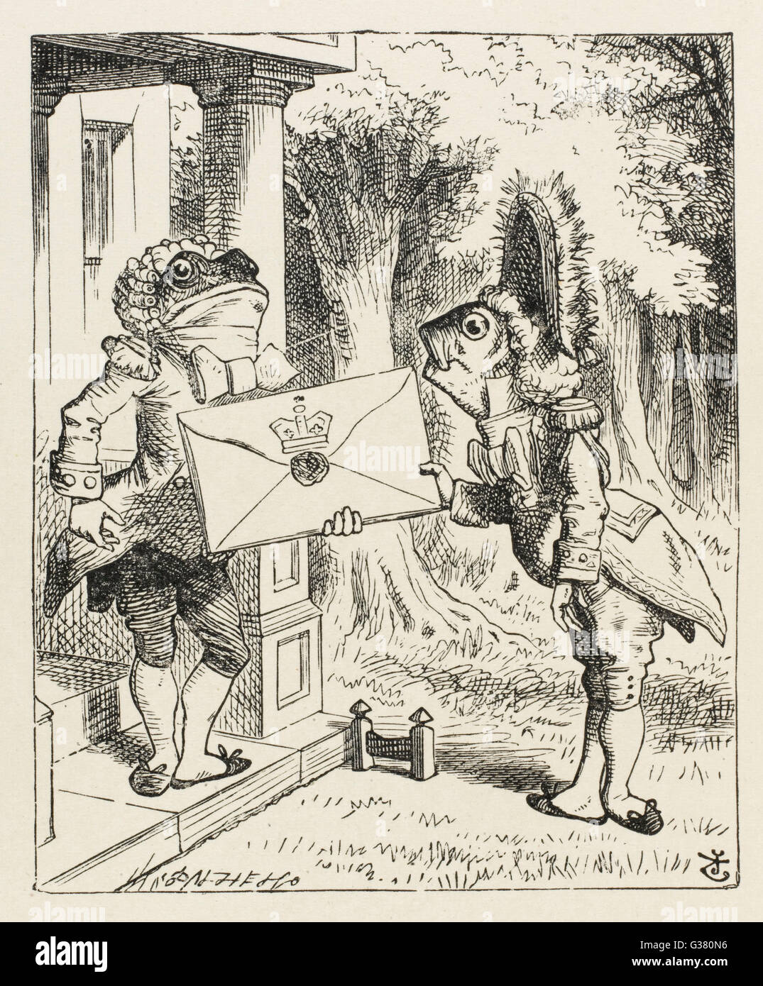 The fish footman and the frog footman        Date: First published: 1865 Stock Photo