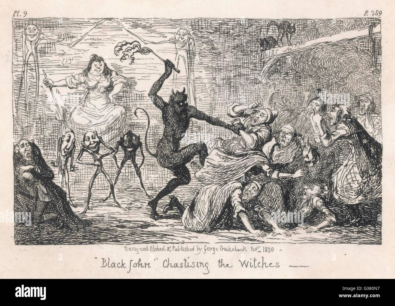 At her 1662 trial, Scottish  witch ISOBEL GOWDIE tells how  since 1647 she and her  companions were visited by  - Stock Image