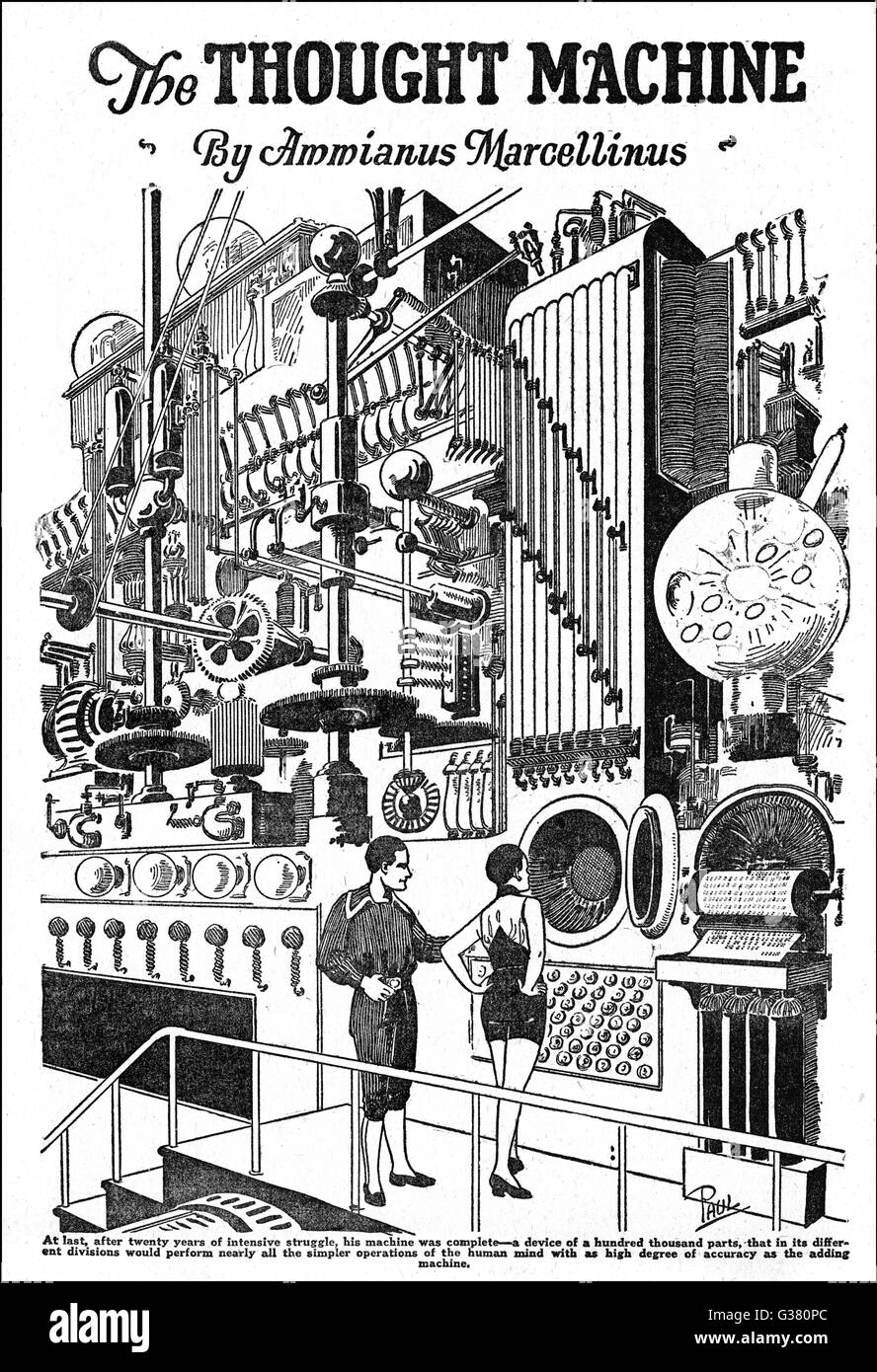 A COMPUTER, as envisaged in  1927 [illustration to  'The Thought Machine' by Ammianus Marcellinus]      - Stock Image