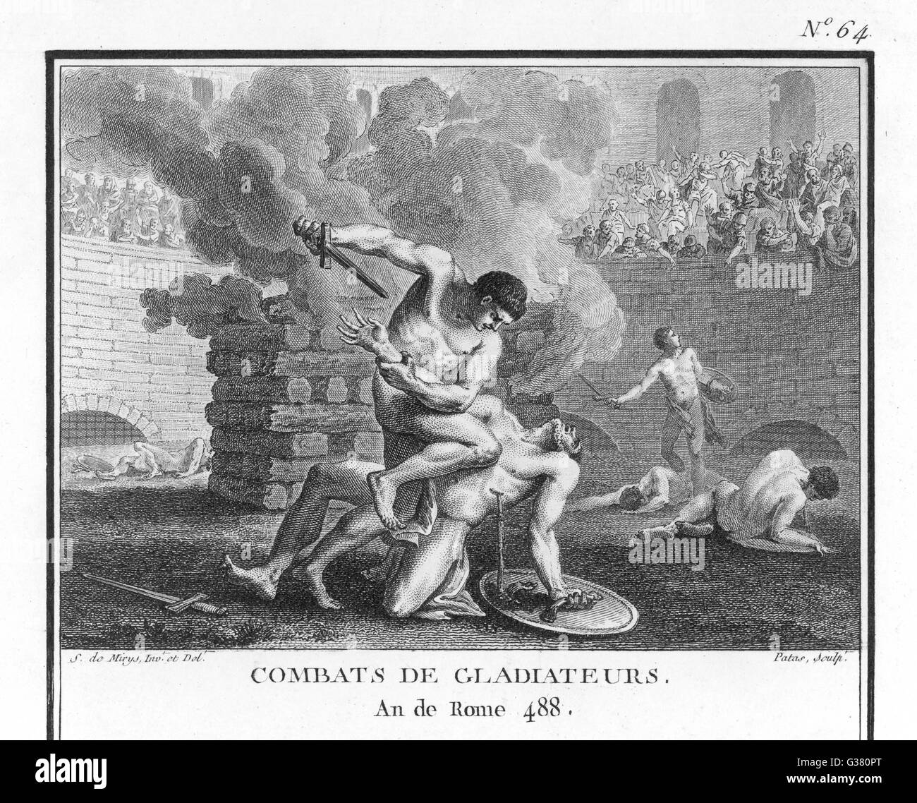 Gladiators in combat in mortal combat in an arena  (with fire behind them). - Stock Image