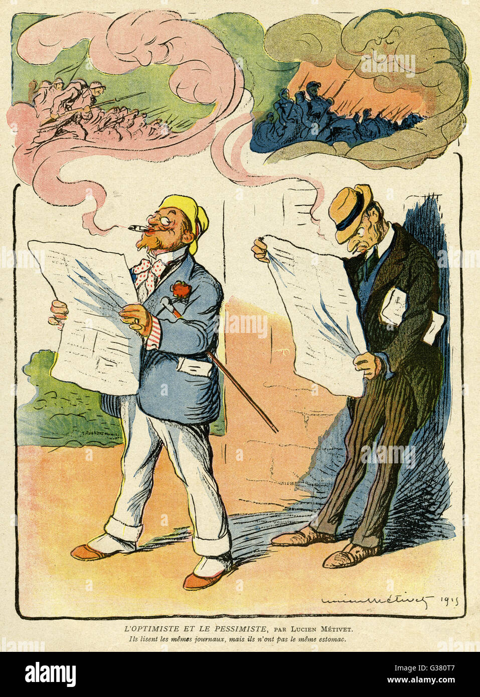 Cartoon, The Optimist and the Pessimist, showing two men reading the same news items about the war but reacting - Stock Image