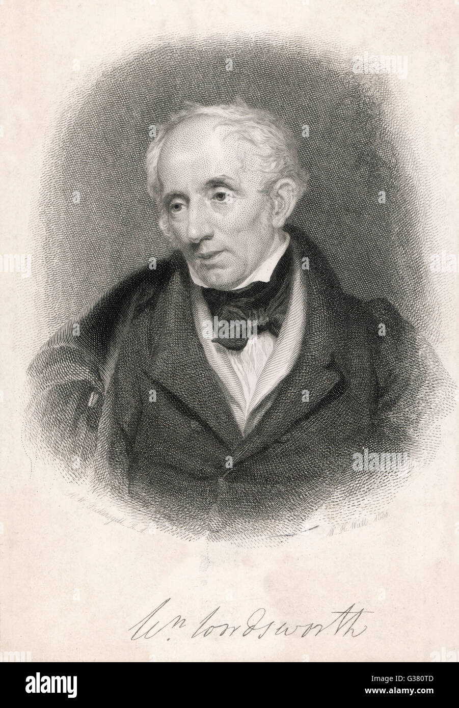 WILLIAM WORDSWORTH  English poet  In 1836      Date: 1770 - 1850 - Stock Image