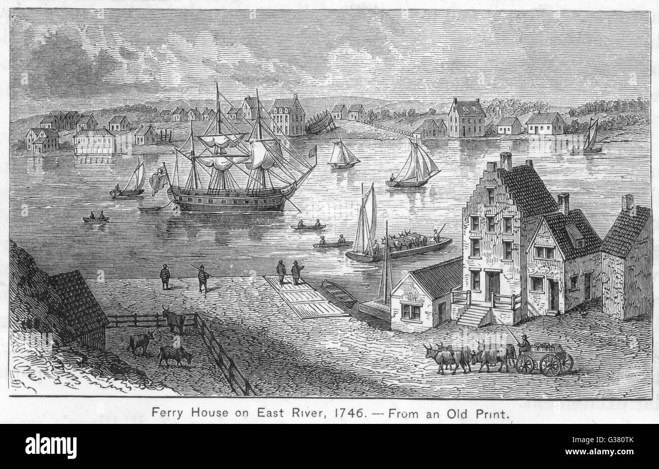 New York: Ferry House on the East River Date: 1746