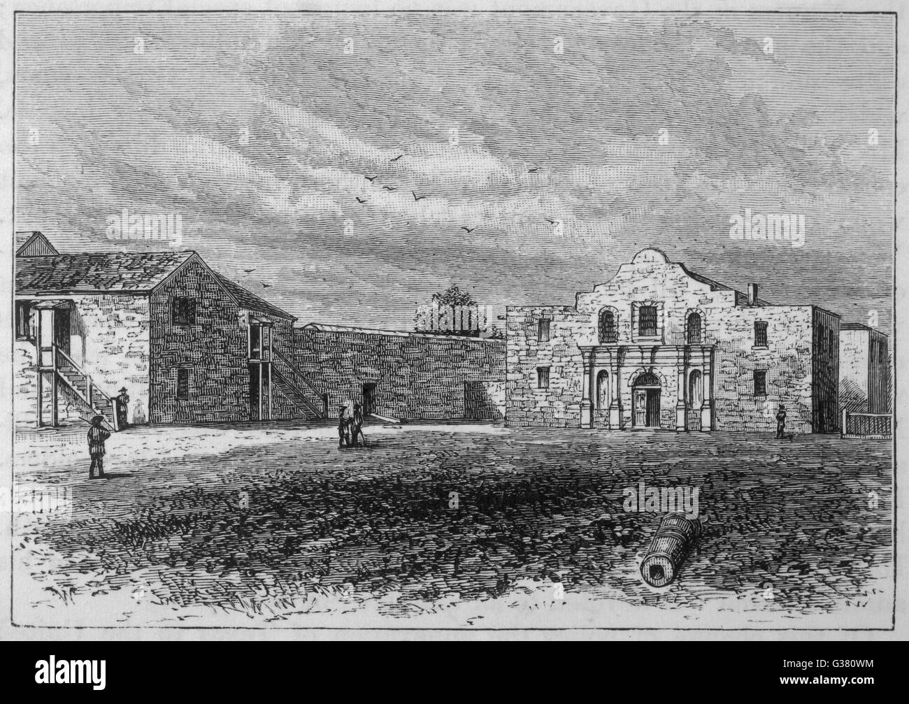 The exterior of the Alamo         Date: 1836 - Stock Image