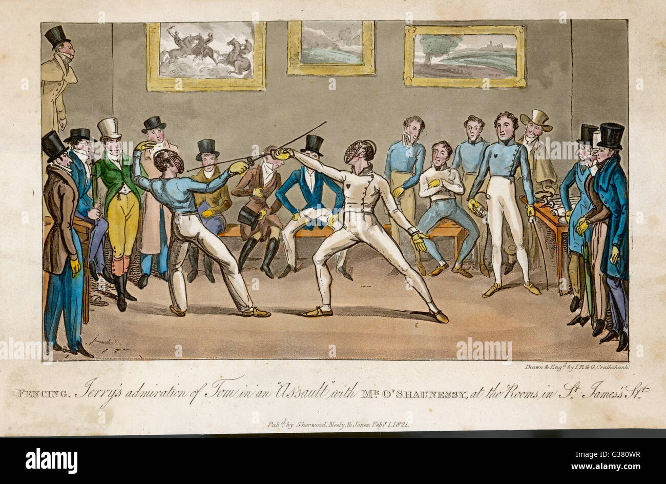 Fencing at the St James' Street  Rooms         Date: 1821 - Stock Image
