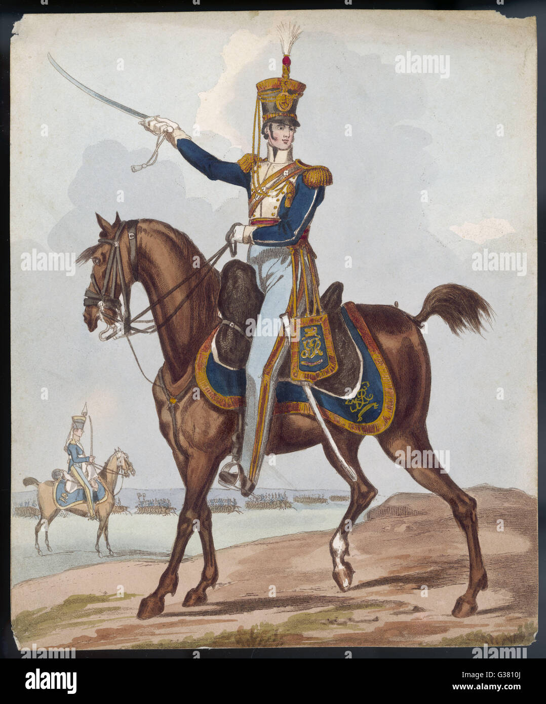 Cavalry officer          Date: circa 1830 - Stock Image
