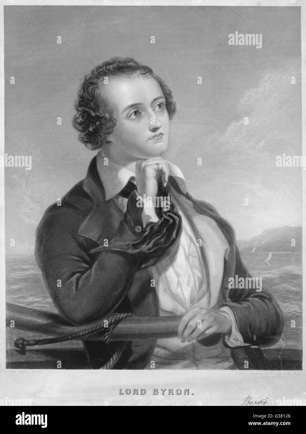 In a thoughtful pose with the  sea in the background         Date: 1788-1824 - Stock Image