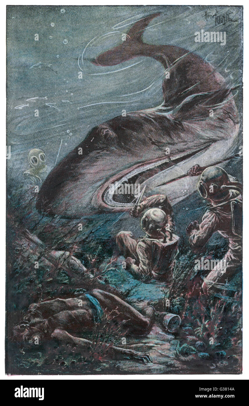 '20,000 LIEUES SOUS LES MERS' [20 000 leagues under the sea]  Divers attacked by a shark       Date: 1870 - Stock Image