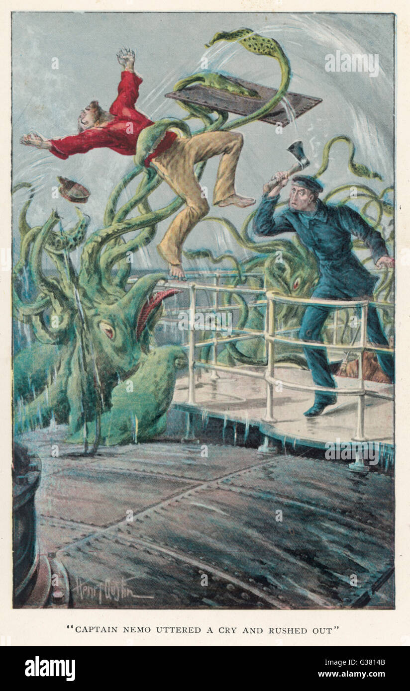 '20,000 LIEUES SOUS LES MERS' [20 000 leagues under the sea]  An attack from a giant squid       Date: 1870 - Stock Image