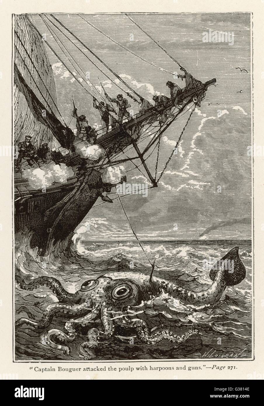 '20,000 LIEUES SOUS LES MERS' [20 000 leagues under the sea]  Attacking a giant squid       Date: 1870 - Stock Image