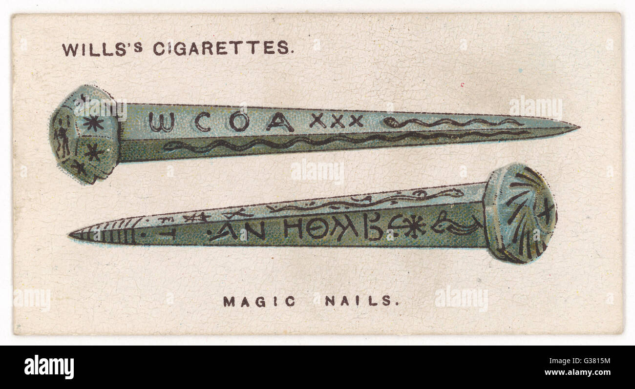 GNOSTIC NAIL TALISMAN 2nd century Gnostics wore  these inscribed nails to  protect them against lemures -  spirits - Stock Image