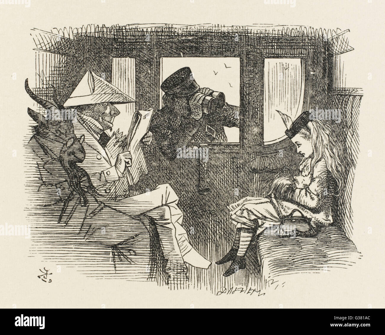 Alice in the railway carriage, closely observed by the guard        Date: First pblished: 1872 - Stock Image