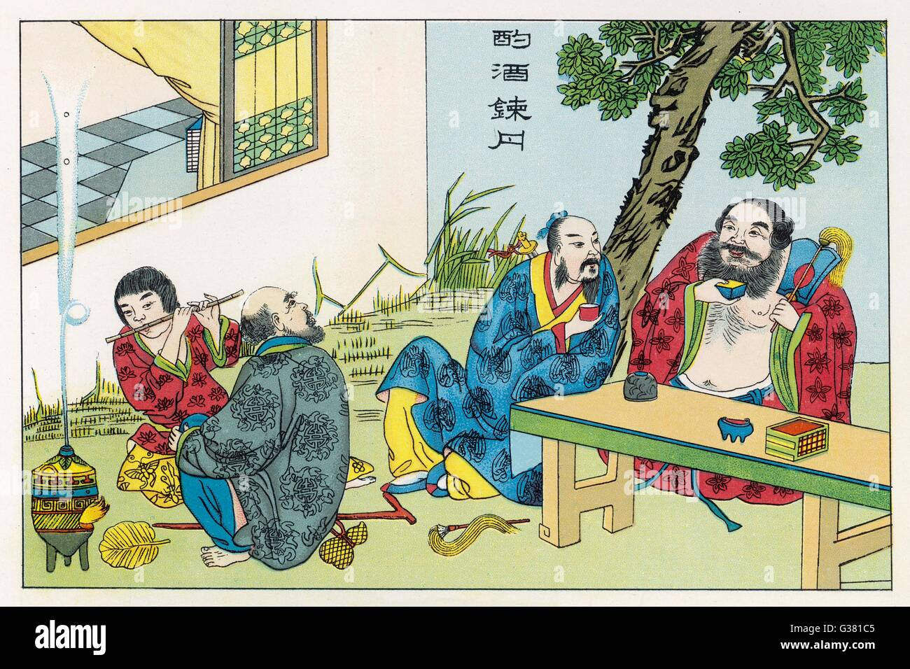 Though revered as deities, the  Immortals of the Chinese  pantheon have weaknesses, such  as being over-fond of - Stock Image