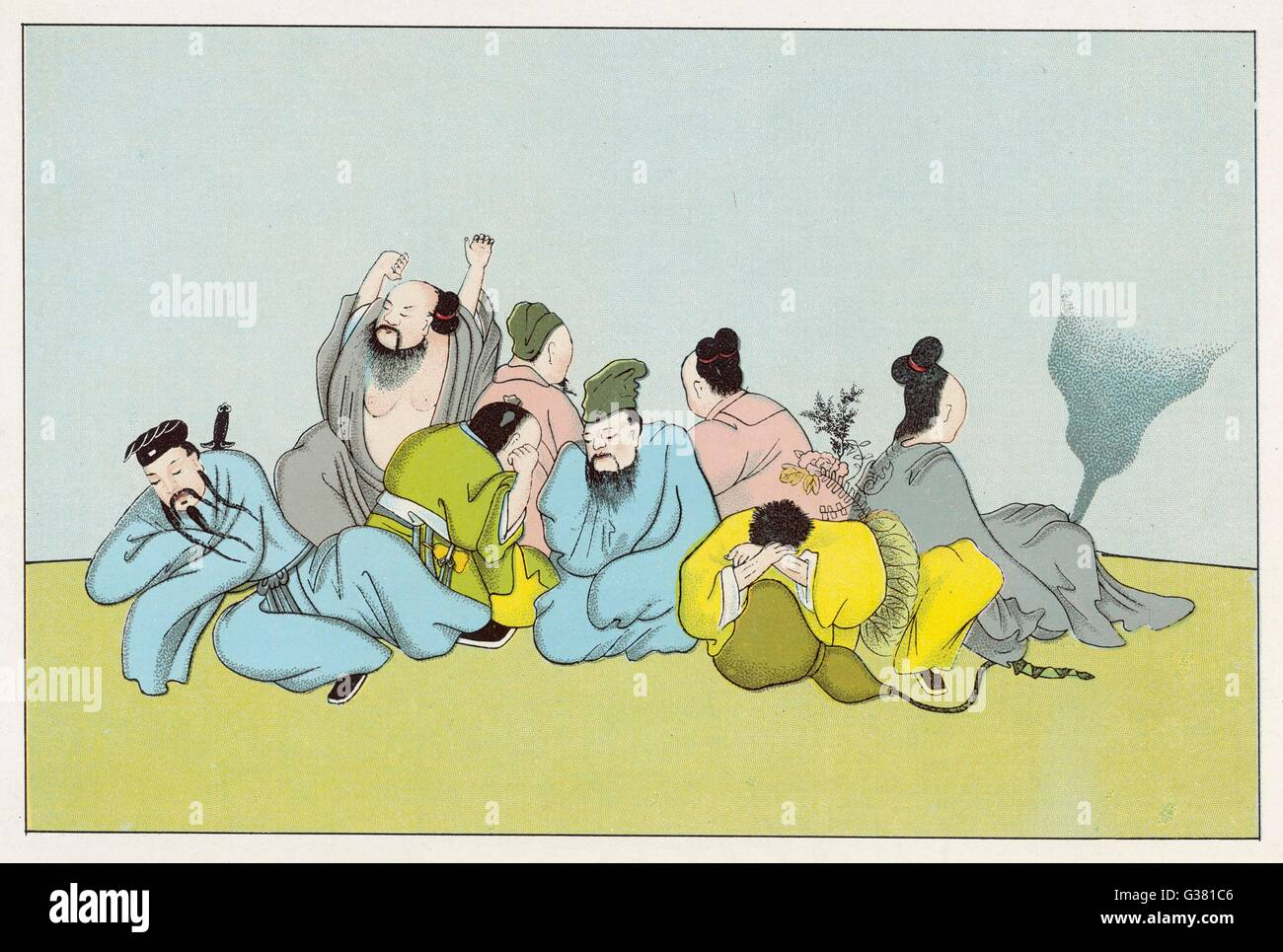 The awakening of the EIGHT IMMORTALS of the Chinese pantheon        Date: 1915 - Stock Image