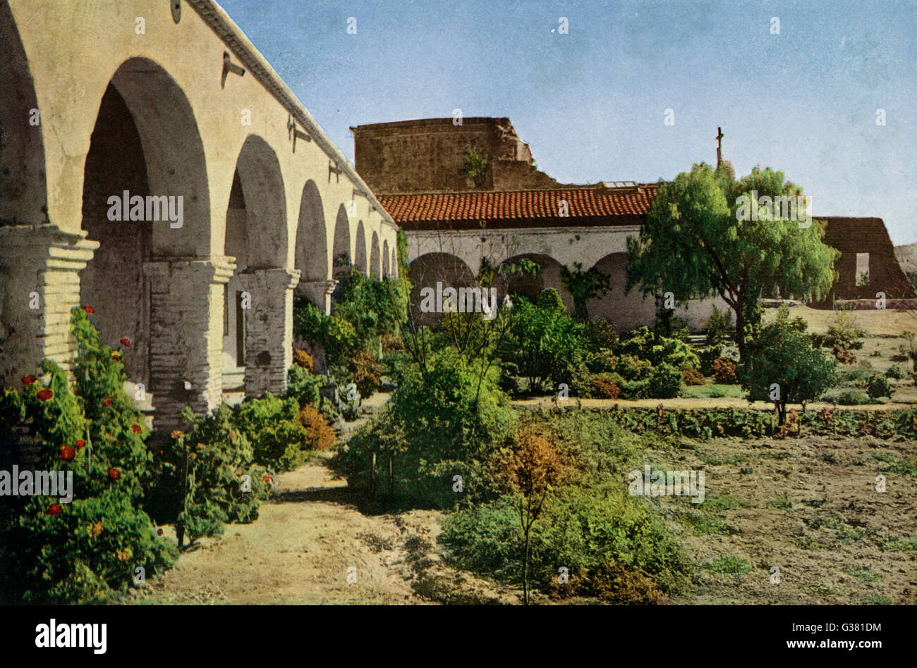 The remains of the Mission of San Juan Capistrano, badly  damaged by earthquake        Date: 1923 - Stock Image
