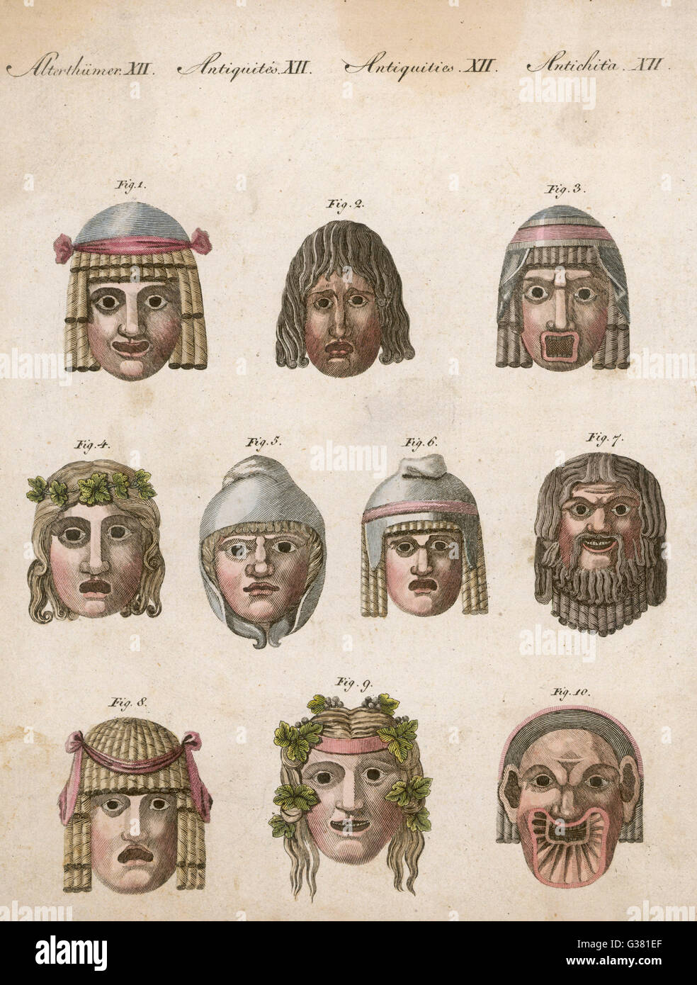 Classical Greek actors' masks  depicting various expressions  and emotions - Stock Image
